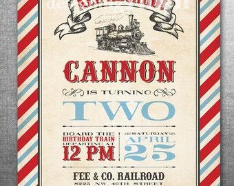 Vintage Train Birthday Invitation or Thomas the Train Invitation, 5x7, Printable and Customizable #142