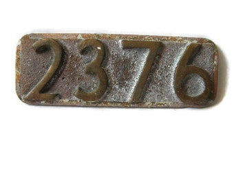 small brass plate, Art Deco numerals, number 2376, vintage 1930's