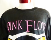 vintage 90's Pink Floyd The Division Bell North American Tour 1994 concert black graphic t-shirt neon pink yellow white front back logo XL