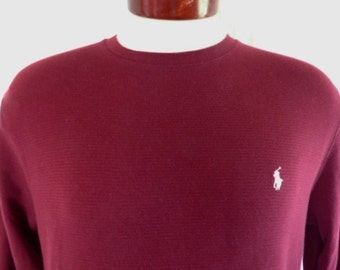 vintage 90s Polo Ralph Lauren Sleepwear solid burgundy wine red waffle knit thermal layering long sleeve t-shirt white pony crew neck medium