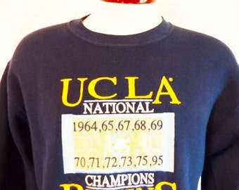 Go UCLA Bruins vintage 90's University of California Los Angeles Basketball 1964-95 navy blue fleece graphic sweatshirt embroider logo mediu
