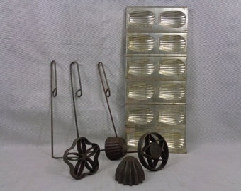 Vintage Kitchen Baking Molds, Madeleines Pan and Four Rosette Molds