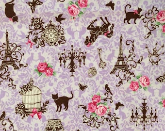 Cat in Paris Lavender / Japanese Fabric - 110cm x 50cm