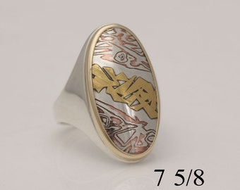 Kuem boo and mokume gane ring, silver, copper, and gold, size 7 5/8, #768.