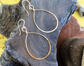 14k Gold Filled teardrop hoop earrings.