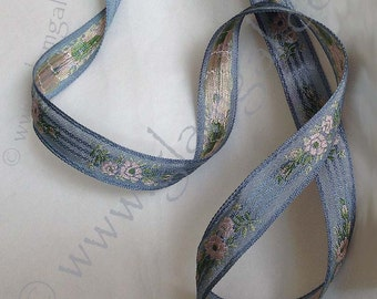 Wedgewood blue damask trim decorated with tiny pink and green flower bouquets, 3/4 inches wide