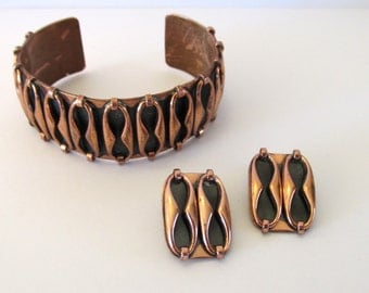 Vintage Renoir Espana Copper Cuff and clip on earrings