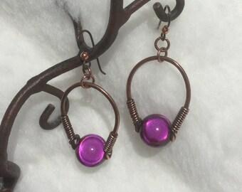 Antiqued Copper Drop Earrings