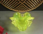 ON SALE Murano Italian Venetian Vaseline Art Glass Bowl Ashtray
