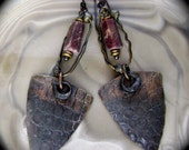 Raw ruby earring, mixed metal earring, tribal rustic, alligator texture, soldered metal, textured metal, unique ruby jewelry, AnvilArtifacts
