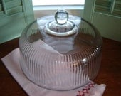 REDUCEDGlass cake dome cover lid kitchen decor wedding table decor serving dining cloche large dome 10 inch glass cover