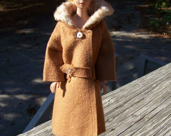 Vintage Barbie Brown Fall/Winter Coat and Matching Hat with Faux Fur.Barbie Vintage Clothes.Barbie Doll Clothes.Barbie Coat.Barbie Fashion.
