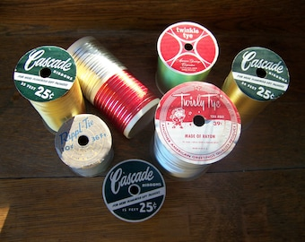 Vintage Gift Wrap Ribbon (Lot of 7 Rolls) Christmas Ribbon.Retro Ribbon.Cascade Ribbons.Vintage Christmas Ribbon Rolls.Christmas Gift Wrap.