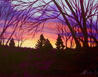 Sunday Sunrise, Original Fine Art Sunrise Landscape, Small Format Art, Sunset
