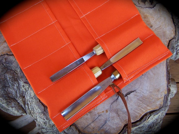 Extra Large Orange Canvas Tool Roll For Woodworkers Roll For