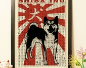 50% OFF Shiba Inu Dog silhouette - Vintage Japan paper Dictionary Print