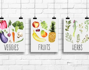 Kitchen watercolor decor, herbs art print, fruits print, veggies poster, veggies kitchen decor, kitchen wall decor, kitchen posters, A-3058