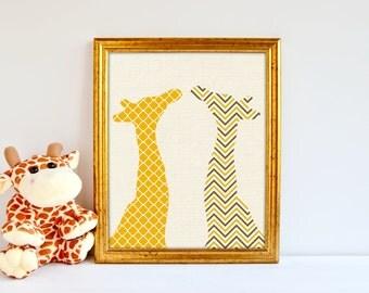 giraffe chevron artprint, nursery print Kids Decor, Kids Wall Art, Baby Decor, Nursery print, giraffe art, jungle decor, giraffe nursery art
