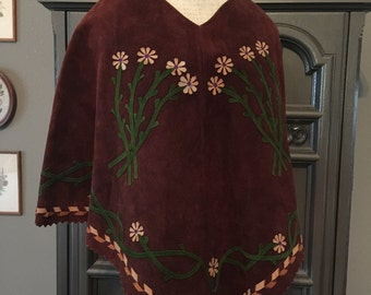 60s Flower Child Suede Leather Poncho