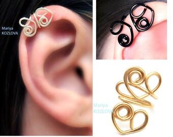 Helix Hearts Ear Cuff/cartilage earcuff/fake faux false piercing/upper top ear jacket/piercing imitation/ohrclip ohrklemme/helix manschette