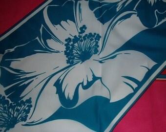 VTG GINA RUCCINI Scarf /Summer Flower Scarf/ Hawaii Style Scarf/Designer Singed