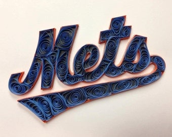 Paper quilling: Mets Quilled Logo, Framed, mlb, baseball