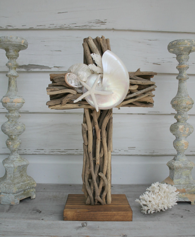 Handmade Wedding Altar: Custom Order Driftwood Altar Cross/Beach Wedding Seashell