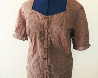 Women's Sz 24, Brown/grey, Denim 24/7 brand, Eyelet Womens Shirt, Puff sleeves, 7-1/2 inch rose buttons, ruffle palcket down front