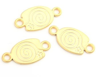 Gold Plated Swirl Connector Link, 3 pcs // GC-401