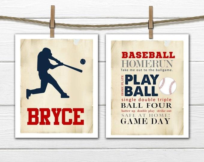 Baseball Word Art Print 2 Piece Set- Vintage stlye  - Sports Nursery CANVAS AVAILABLE