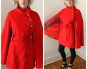 RESERVED for SUPERBEAGLE /// Vintage Stunning Mod Bright Red Wool Belted Cape - 1960's