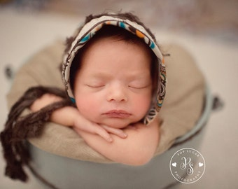 Newborn Baby Girls Fabric Bonnet Hat Size Adjustable Vintage Style Bonnet with Silk Sari Ribbon Ties and Lace Photography Prop. UK Seller.