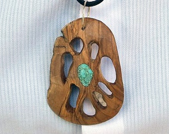 Pendant - Olivewood and Turquoise