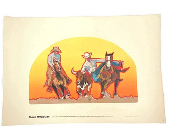 Rodeo Lithograph - Rodeo Print - Steer Wrestler - NFR Lithograph - 1975 National Finals Rodeo - Hesston Corp - Free Shipping - 4HTT16