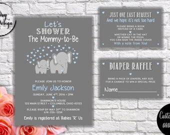 BLUE & GRAY ELEPHANT Baby Shower Invitation - Digital
