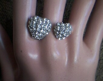 Double Heart Silver Pave Ring