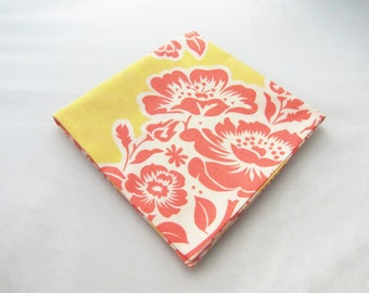 Men's Pocket Square - Coral & Yellow Peony