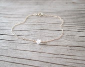 dainty HERKIMER DIAMOND bracelet in sterling silver gold filled rose gold filled delicate layering April birthstone bridal beaded jewelry