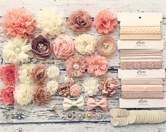 DIY Baby Headband Making Kit - Peach, Beige, Ivory, Champagne Collection - MAKES 20+ HEADBANDS! Shabby Chic & Glam Flower Headbands