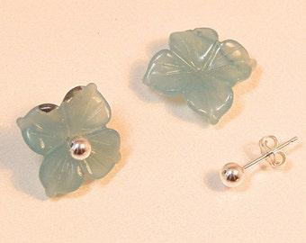 SS Carved FLOWER AMAZONITE Earrings