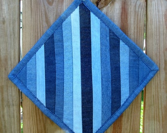 Quilted Snack Mat - Denim Snack Mat - Mug Rug - Candle Mat- Hot Pad