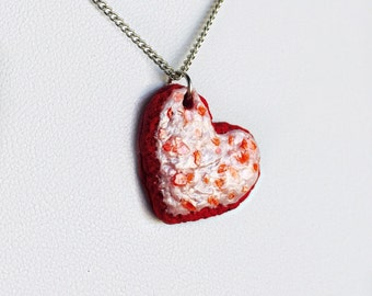 Heart Cookie Charm Necklace with Frosting and Sprinkles