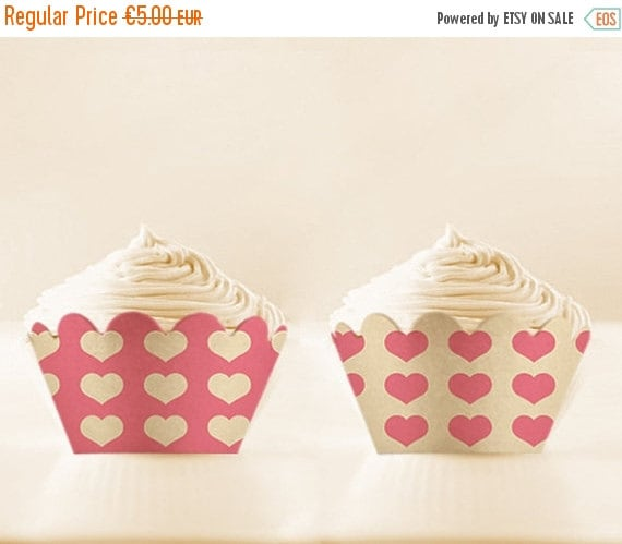 80% OFF Hearts Cupcake Wrappers to Print Pink Cupcake Holders wedding printables valentines wrappers pink Digital Download