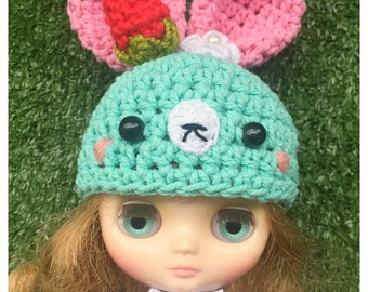 "Middie Blythe Outfit : ""Pastel Rabbit Hat"" (Crochet hat)"