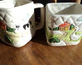 Oritii sugar bowl and creamer