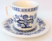 Kensington Straffordshire Ironstone Blue Onion, Cup and Saucer, Made in England