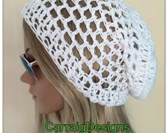 BUY1GET1HALFPrice Cotton hat spring summer Womens teens handmade crochet knit oversized slouch beanie white dread tam unique sale hippie