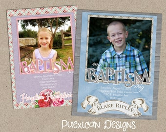 Girl or Boy LDS Baptism Announcement or Invitation--Digital Download