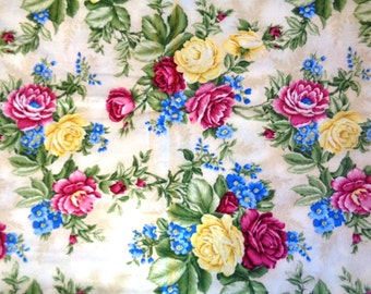 "Large Roses Fabric, Fat Quarter, Multicolor, 18"" X 22"" inches, 100% Cotton, For Victorian & Romantic Projects"