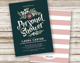 Custom Vintage Floral Personal Shower Invitation, Lingerie Shower Invite, Bridal, Bride-to-Be, Rustic, Printable